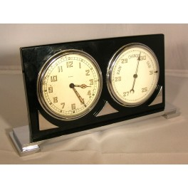 Art Deco Chrome And Black Glass Combined 8 Day Clock And Barometer