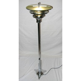Art Deco French Chrome Standard Lamp With Frosted Glass Insert