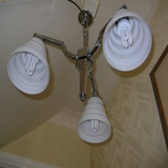 Good english (3) branch chrome fixture with stepped glass shades