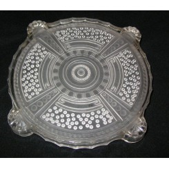 French glass Art deco table stand with a strong geometric design