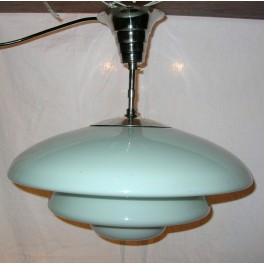Large White Stepped Art Deco Ceiling Fixture