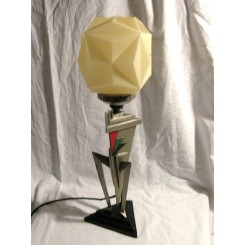 Art Deco Geometric Rocket Table Lamp With Geometric Shade