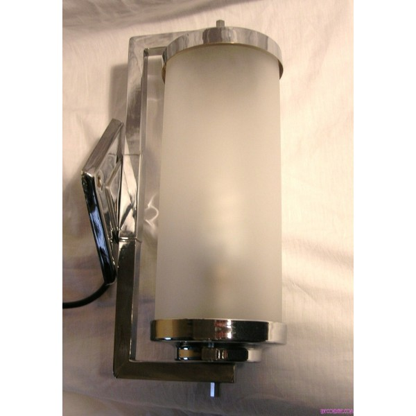 Wall Hanging Tube Light : Pair Of Art Deco Chrome And Frosted Tube Glass Wall Lights - Deco Dave