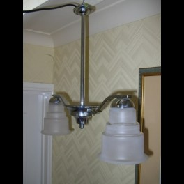 (2) arm modernist chrome fixture with stepped glass shades