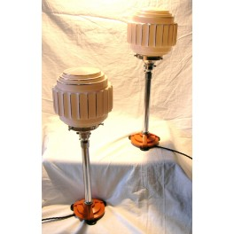 Pair Of English Art Deco Catalin And Chrome Table Lamps