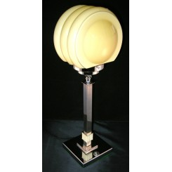Square Based Chrome Table Lamp With Bakelirte Decoration And Yellow Shade