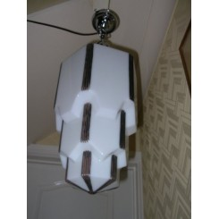 Enormous american empire state shaped art deco fixture in white glass with silver highlights