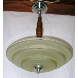 Lovely French Art Deco centre pole fixture with amber glass shade