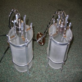 Pair of modernist nickle and perspex hall fixtures