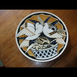 Art deco french wall plaque of turtle doves by e&g luneville