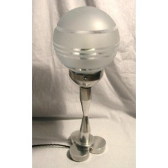 Modernist aluminium table lamp with Saturn ring frosted globe shade