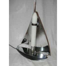 Art Deco chrome sailing boat table lamp