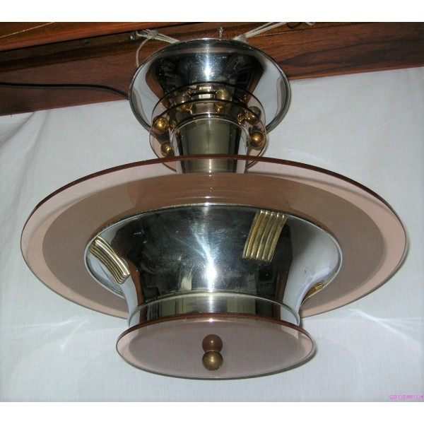 Ceiling light rose chrome : Modernist petitot style chrome and rose coloured ceiling fixture deco dave