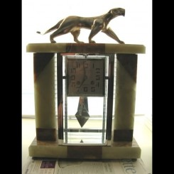 Marble & glass (8) day pendulum clock with bronze decoux panther