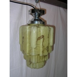 French Art Deco Stepped Glass Cubist Shade