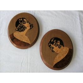 Pair Of Art Deco Marquetry Plaques Depicting Young Ladies