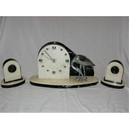 Marble Clock Set With Egret Bird Decoration
