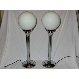 Pair of Modernist chrome table lamp with white shade