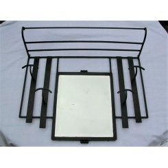 French Wrought Iron Porte Manteau With Original Bevelled Glass Mirror