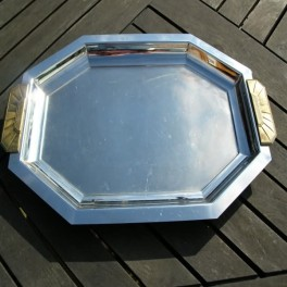 Chrome and bronze art deco style french tray