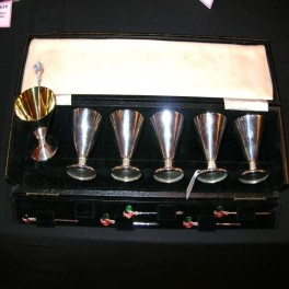 Boxed silver plated martini goblets with enamel stirrers