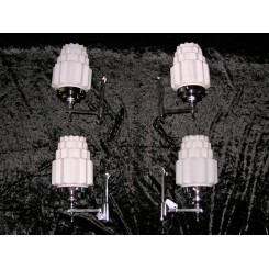 Set of 4 small Art Deco wall lights with stepped white cog design shades