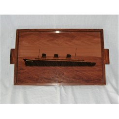 Art Deco Marquetry Tray Depicting The Steamship Normandie