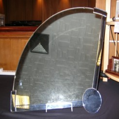Unusual fan shaped deco wall mirror - clear with blue circle and strip edge decoration