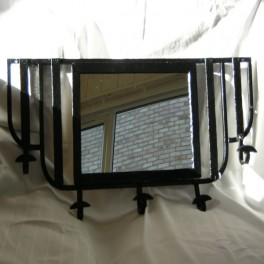 Small french wrought iron hall mirror/coat hook