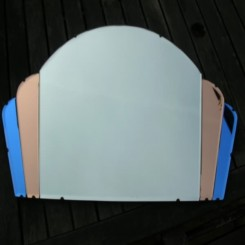 Excellent blue/salmon & clear cloud shaped deco mirror