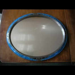 French oval blue/silver art deco mirror