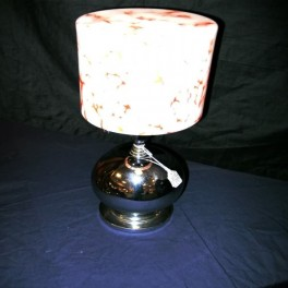 Good atomic design chrome table lamp with good glass cylinder shade circa 1935