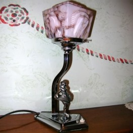 English deco table lamp with chrome lady figure and excellent marbled shade
