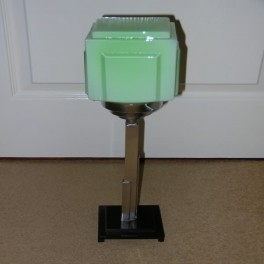 Bakelite and chrome modernist table lamp with green cube shade