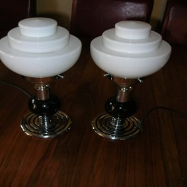 Pair of chrome & black pottery table lamps
