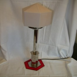 Red perspex & chrome table lamp with hexagonal shade