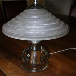 (SOLD) Superb french glass table lamp with daum acid etched shade