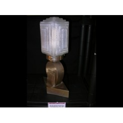 Very rare french modernist table lamp with cubist clear & frosted shade