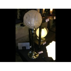 Large french art deco table lamp with clear & frosted geometric globe shade