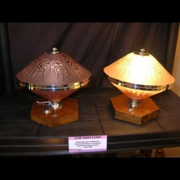 Pair of french conical glass table lamps on wooden hexagonal bases