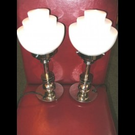 (2) modernist nickel table lamps with white shades