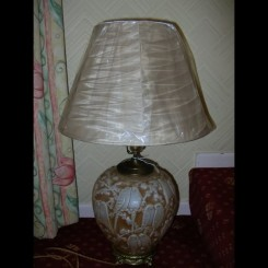 Consolidated martele ware glass budgie lamp