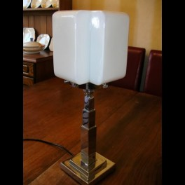Chrome square stepped base table lamp with white cross cube shade