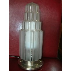 French stepped & ribbed  frosted glass table lamp