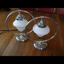 Wonderful pair of chase table lamps with unusual white acorn shades