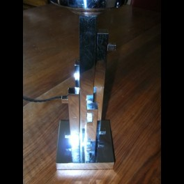 Very rare constructivist table lamp with frosted cube shade