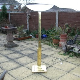 Very rare english brass deco square section standard lamp with frosted glass uplighter shade