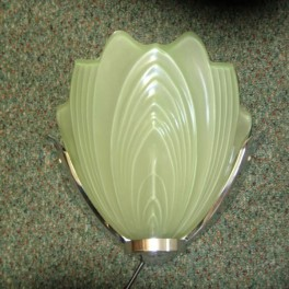 Pair of green glass and chrome wall lights