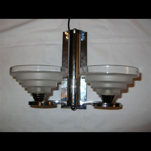 French modernist pair of chrome wall lights with stepped shades - Deco Dave