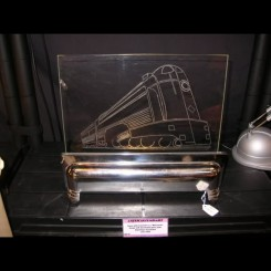 American chrome table luminaire with etched glass motive of a train